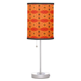 Orange Lily Pattern Table Lamp