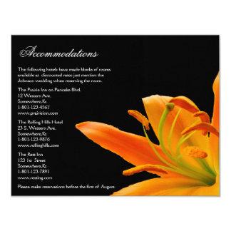 Orange Lily Wedding  Accommodation cards