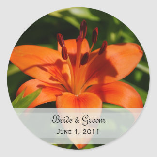 Orange Lily Wedding Stickers