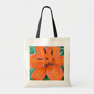 Orange Lily with Water Droplets Tote Bag