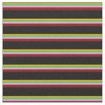[ Thumbnail: Orange, Lime Green, Plum, Maroon & Black Stripes Fabric ]