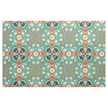 LolasFabulousFabrics Orange Lime Green Turquoise Bali Batik Pattern Fabric