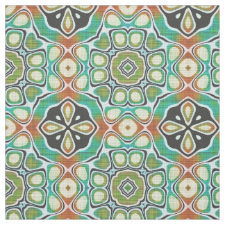 Orange Lime Green Turquoise Bali Batik Pattern Fabric