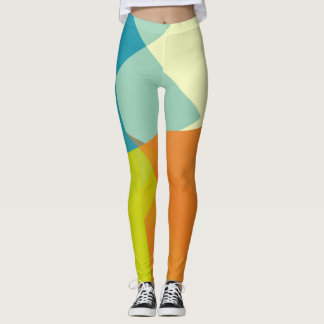 Orange Lime Mint Cream Modern Geometric Pattern Leggings