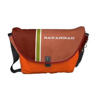 Orange & Lime Retro Racing Stripe Messenger Bag