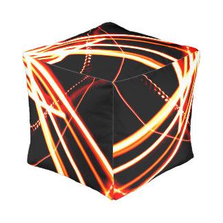 Orange Line Design Pouf