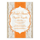 "Orange Linen Burlap Lace Bridal Shower Invitations 5"" X 7"" Invitation Card"