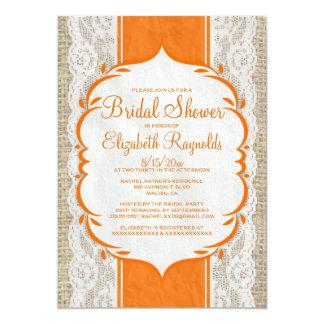 Orange Linen Burlap Lace Bridal Shower Invitations