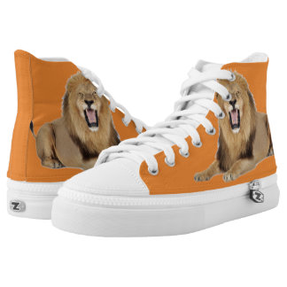 Orange Lion Boss shoes by Terrance L Burton Jr.