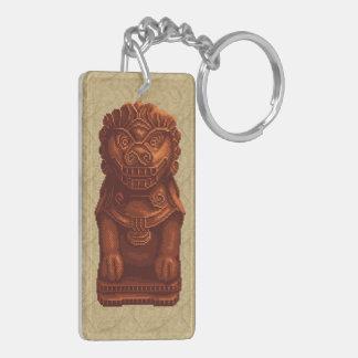 Orange Lion Dog Pixel Art Double-Sided Rectangular Acrylic Keychain
