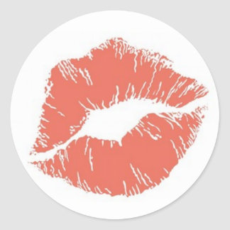 Orange Lipstick Kiss Mark Card Seal Sticker