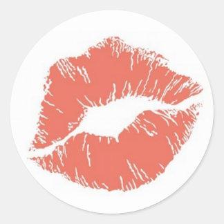 Orange Lipstick Kiss Mark Card Seal Sticker