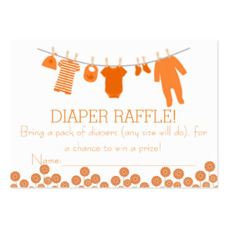 Orange Little Clothes Diaper Raffle Tickets Large Business Cards (Pack Of 100)