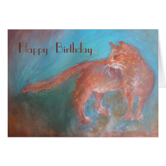orange long hair cat birthday card
