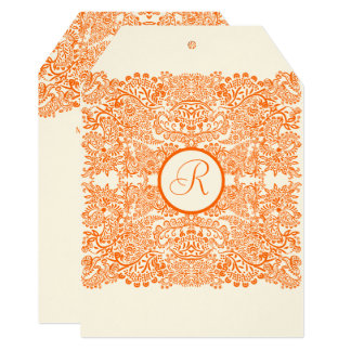 Orange Love Birds Reflections Wedding Invitation