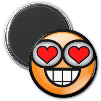 Orange Love Smiley 2 Inch Round Magnet