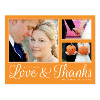 Orange Love Thanks Wedding 3 Photo Modern Postcard
