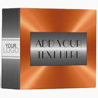 Orange Luxury Stainless Metallic Metal Look 3 Ring Binder