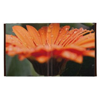 Orange macro floral iPad folio case