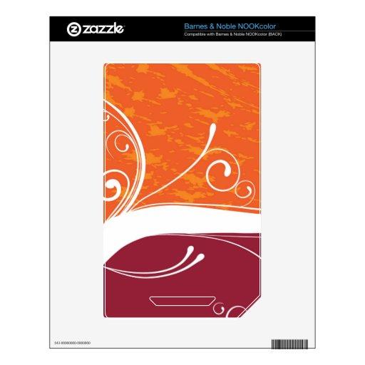 Orange & Magenta Flourish Decal For The NOOK Color