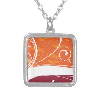 Orange & Magenta Flourish Square Pendant Necklace
