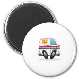 Orange Mail Truck 2 Inch Round Magnet