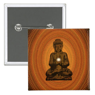 orange mandala for Buddha Pinback Button