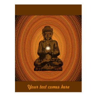 orange mandala for Buddha Postcard