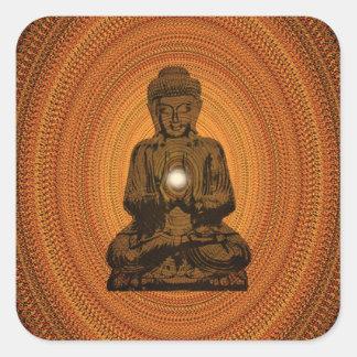 orange mandala for Buddha Square Sticker