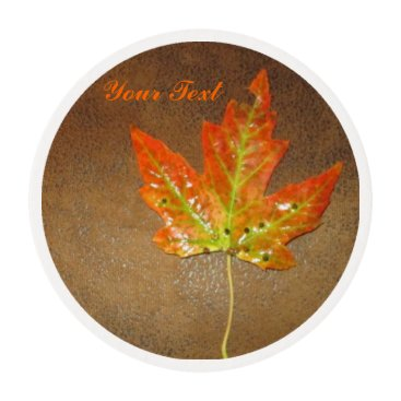 Halloween Themed Orange Maple Leaf Frosting Rounds