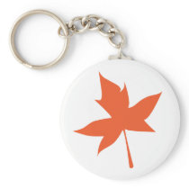 Orange Maple Leaf Keychain