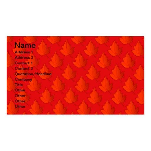 Orange Maple Leaves Business Card
