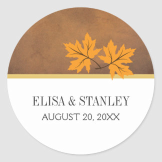 Orange maple leaves on brown wedding Save the Date Classic Round Sticker
