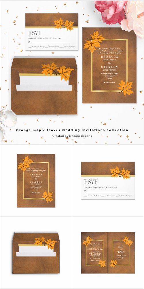 Orange maple leaves wedding invitations collection