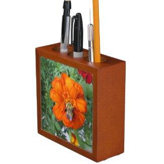 Orange Marigold Bee Flower
