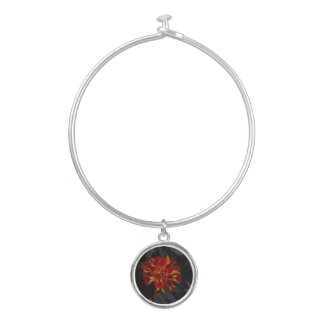 orange marigold charm on women's bracelt bangle bracelet