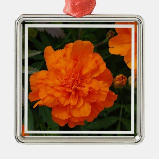 Orange Marigolds Square Metal Christmas Ornament