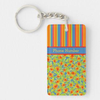 Orange Marigolds, Stripes Keychain to Personalize