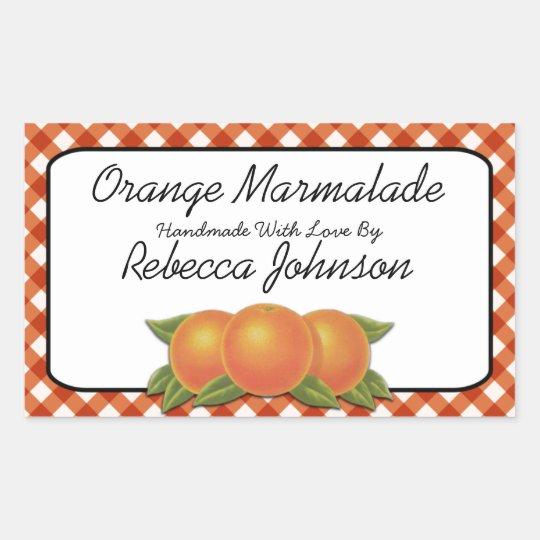 Orange Marmalade Custom Text Jar Label