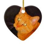 Orange marmalade Double-Sided heart ceramic christmas ornament