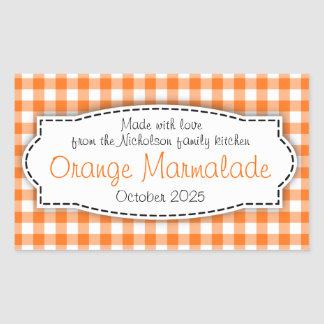 Orange marmalade gingham check food label sticker