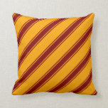 [ Thumbnail: Orange & Maroon Lines Pattern Throw Pillow ]