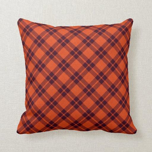 orange maroon plaid throw pillow Zazzle