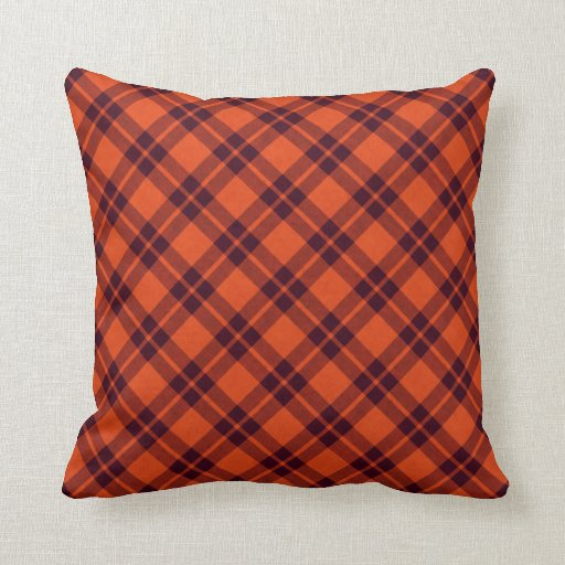 Throw Pillows For Maroon Couch : orange maroon plaid throw pillow Zazzle