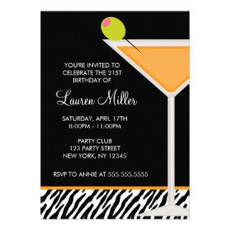 Orange Martini and Zebra Pattern Invitation