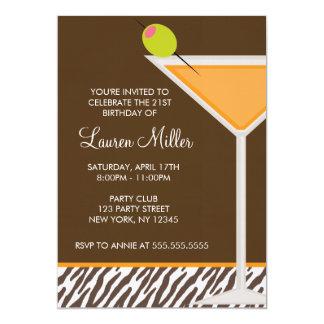 Orange Martini and Zebra Pattern Custom Invitations
