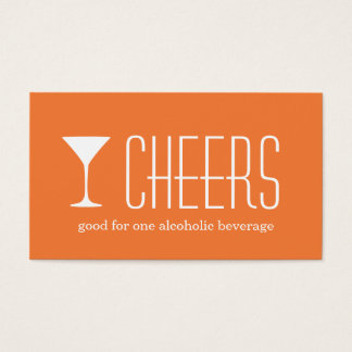 Orange martini corporate logo event drink ticket