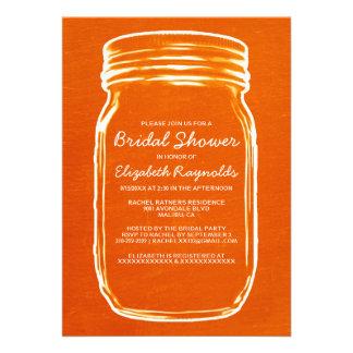 Orange Mason Jar Bridal Shower Invitations Cards