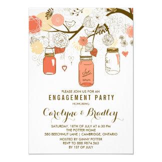 Orange Mason Jars   Engagement Party Invitation