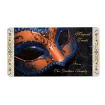 Orange Masquerade Mask  Halloween Baking Label Shipping Label